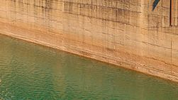 Low water levels on the dam wall at Mundaring Weir, near Perth, Western Australia.