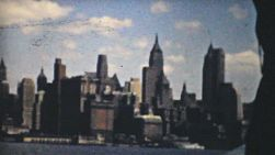 The New York Manhattan skyline as seen from a tour boat during summer holidays in 1940.