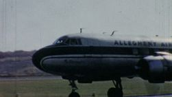An old Allegheny Airlines Airplane prepares for take off in Pennsylvania in 1958.