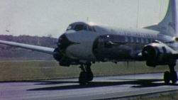 An old Eastern Airlines airplane prepares for take off at the airport in Pennsylvania in 1958.