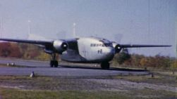 An old military cargo airplane prepares for take off at an airport in Pennsylvania in 1958.