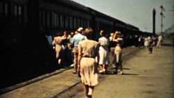 A group of people begin their cross country train trip riding the Challenger in style in 1940.