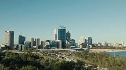 Looking down on the City of Perth, freeway and Swan River, as seen from King's Park in Western Australia.