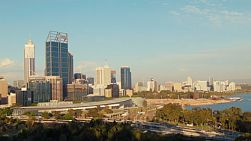 The late afternoon sun shining on the Perth City CBD, in Western Australia, as seen from King's Park.