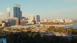 View of the City of Perth from King's Park, as shadows start to creep across the view in the late afternoon.