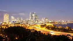 Time lapse of Perth City, Australia at dusk, as seen from King's Park, with the lights of the traffic and city illuminating the scene.