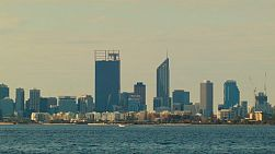View across the water of the Swan River, to the Perth City Skyline.