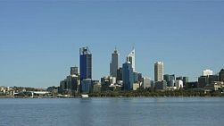 View of the city of Perth from across the Swan River on a spring day.