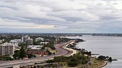 Time lapse of the Swan River and Kwinana Freeway in Perth, Australia, from dusk to night.