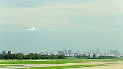 A plane that has just taken off from Don Muang Airport, Bangkok, Thailand.