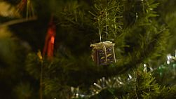 Small decorations hanging on a christmas tree.