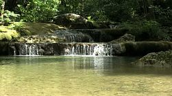 A shot of beautiful Erawan Waterfalls in the western province of Kanchanaburi, Thailand.