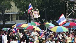 Protesters gather together at Democracy Monument in Bangkok, Thailand to give support to their political party.