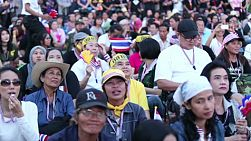 Anti-government protesters gather together at Democracy Monument in Bangkok, Thailand to give support to their political party.