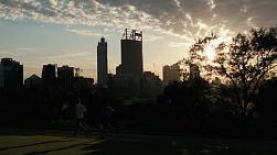 People exercising and running in King's Park, with the Perth skyline in the background, lit by the early morning sunlight.