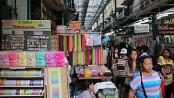 A shot of the crowded Sampeng Chinatown market in downtown Bangkok, Thailand.
