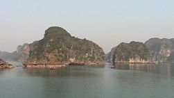 Scenic shots of beautiful Halong Bay in Vietnam in the Gulf of Tonkin.