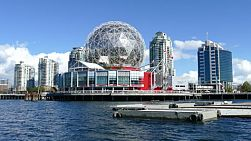 A shot of Science World on False Creek in beautiful Vancouver, British Columbia.