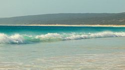 Small waves crashing in Hamelin Bay in Australia's South West.
