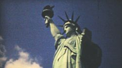 Visiting the Statue of Liberty in New York while on summer holidays in 1940.