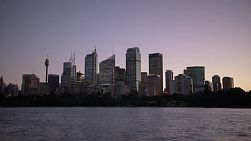 Dusk time lapse of the Sydney City skyline in the fading light of dusk.