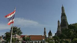 A cool left to right pan shot of Bangkok, Thailand's famous Temple of the Dawn or Wat Arun, located on the banks of the Chao Phraya river.
