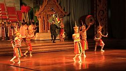 A shot of Thai dancers wearing traditional head pieces perform at a Thai cultural show in Pattaya, Thailand.