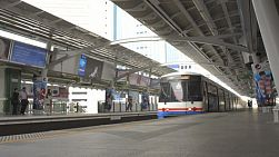 BANGKOK, THAILAND - OCTOBER 9 2013: A train arriving at a skytrain station in Bangkok, Thailand.