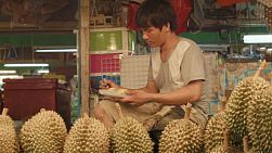 A man preparing packaged durian to sell at his stall in a fruit market in Bangkok, Thailand.