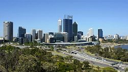View of perth city, australia, from king's park in mid-afternoon, with traffic on the freeway.