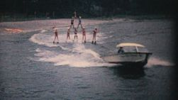 A group of water skiers perform the challenging pyramid act on a lake in Orlanda, Florida in 1961.