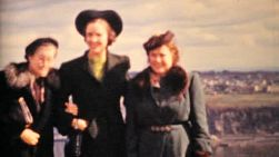 Three women friends enjoy their vacation near Quebec City by the Saint Lawrence Seaway in Canada in 1958.