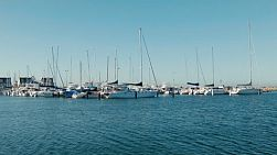 Rows of yachts and boats docked in Fremantle Fishing Boat Harbour, near Perth, Western Australia.