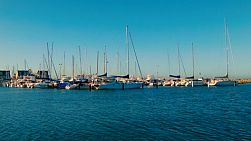 Rows of yachts and boats docked in a harbour, near Perth, Western Australia.