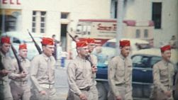 Young Cub Scout and Cadets march in a special summer parade in 1972.