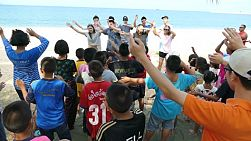 A group of high school students on an overseas missions trip put on a special kids camp at the beach for Thai and Khmer kids living in the slums of Pattaya, Thailand.
