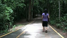 A nice tilt down shot of an Asian woman walking down a path into the jungle in western Thailand.