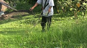 A man uses a disc weed whacker to trim the tall grass in rural Thailand.