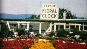 A family enjoys visiting the beautiful and colorful floral clock in Vernon, BC while on holidays in 1967.