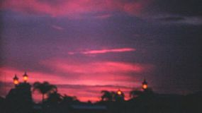 A gorgeous shot of a classic pink and purple sunset in Florida while on holidays in 1969.