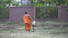 A young Buddhist monk disposes a dead dog in a field behind the temple in Bangkok, Thailand.