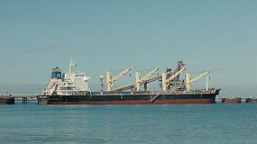 A bulk carrier ship docked at Kwinana, in Western Australia, ready for loading.