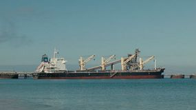 A bulker ship docked at Kwinana, in Western Australia, ready for loading.