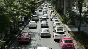 Traffic jam during rush hour on Sukhimwit road in Bangkok, Thailand.