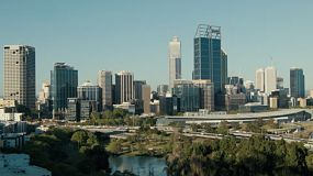 Looking down on the City of Perth skyline and freeway, as seen from King's Park in Western Australia.