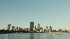 View of the skyline on Perth City, from across the Swan River on a clear spring day.