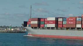 A loaded container ship arriving into Fremantle Harbour in Western Australia.