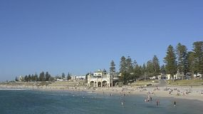 People swimming and enjoying themselves at Cottesloe Beach in Perth, Western Australia, on a hot summer day.