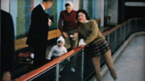Families and individuals enjoy figure skating at the Penn Center ice rink in downtown Philadelphia in December 1962.