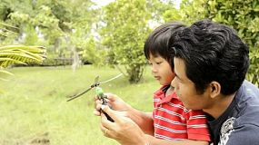 An Asian father and son playing together with a toy helicopter in a park.
